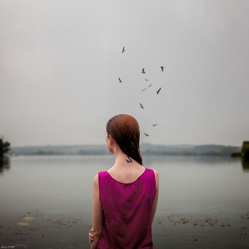 lonely, loneliness, girl, portrait, river, birds, water Lonelinessphoto preview