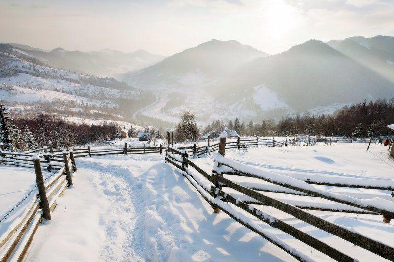 Карпаты, горы, рассвет, утро, пейзаж, панорама, зима, снег утро нового дняphoto preview
