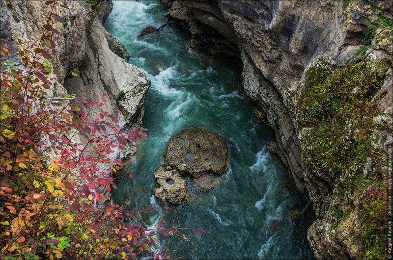 Адыгея, река, Хаджох, осень Хаджохская теснинаphoto preview