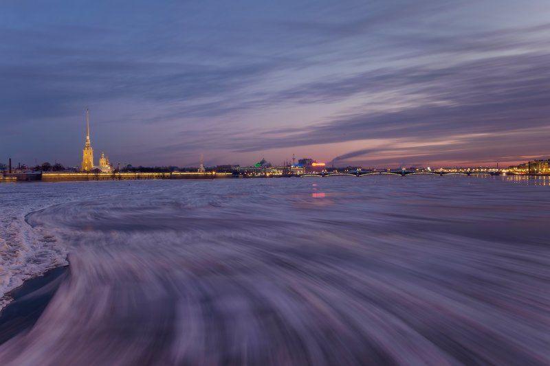 санкт-петербург, нева, утро, рассвет, зима, мост, петропавловка, ледоход, лед про репетицию ледохода утром 30.12.2015photo preview