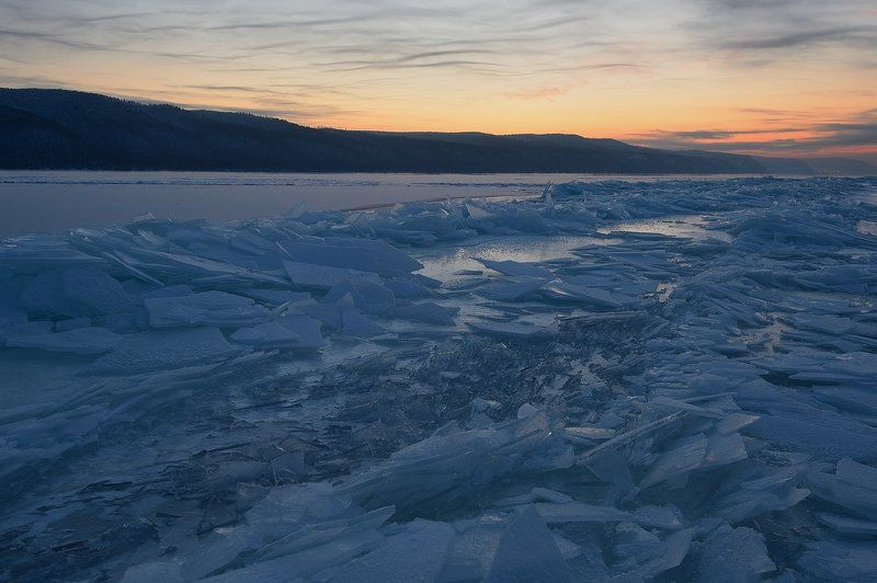 волга, лед, зима, мороз, вечер, снег, морозно photo preview