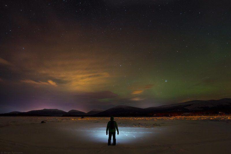 кольский полуостров, пейзаж, ночное фото, белое море Морозным вечером на берегу Белого моря.photo preview