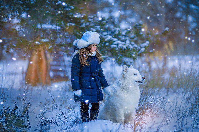 девочка зима лес winterforest girl зимаphoto preview