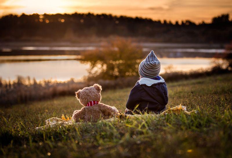 Child, Children photography, Landscape, Teddy bear Friendsphoto preview