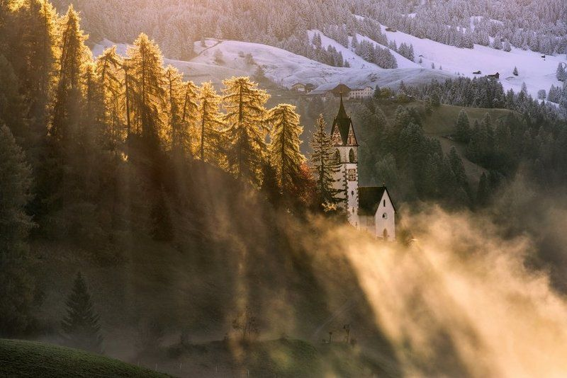 Alpen, Alpia, Alps ,Alta badia, Autumn, Autumn colors, Autumn forest, Autumn landscape, Dolomiten, Dolomites, Dolomiti, Italia, Italien, Italy, Südtirol, beautiful, beautiful place, church, first snow, la walle, meadows, mountains, rays, snow, sunrise, s Dolomitesphoto preview