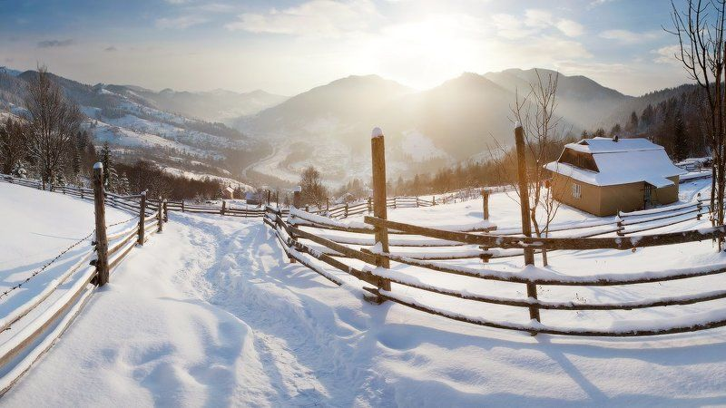 Карпаты, природа, горы, холод, зима, снег, мороз, рассвет, утро * * *photo preview