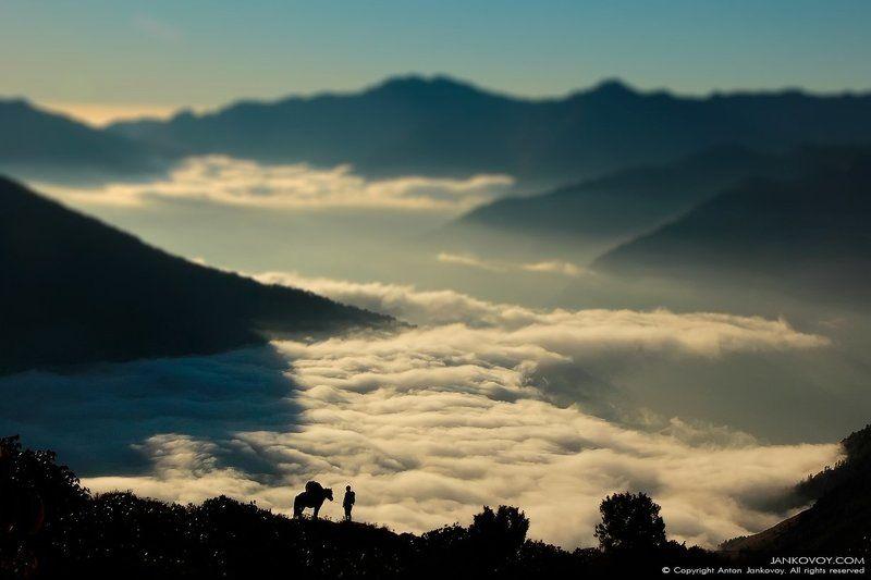 nepal, himalayas, himalaya, mountains, clouds, silhouette, horse, horseman, morning, sunrise, sunset, laurebina, langtang, gosaikunda, trekking, trek, hills, travel, traveling, road, way,   непал, гималаи, горы, облака, силуэт, лошадь, конь, всадник, путн Странникphoto preview