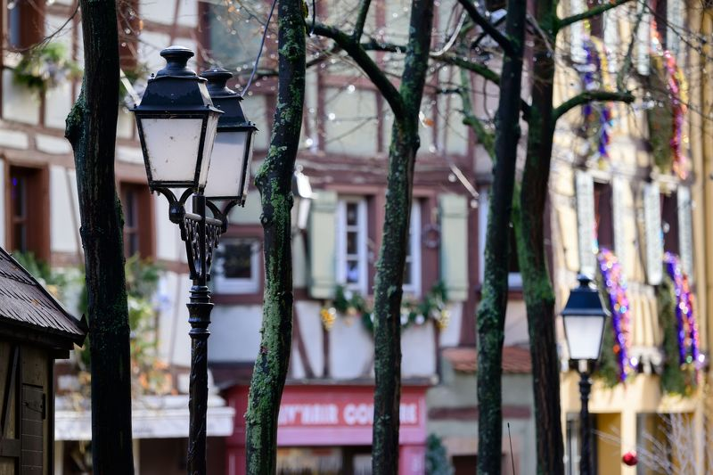 france, colmar, lantern, street, house, winter Lanterns of Colmarphoto preview