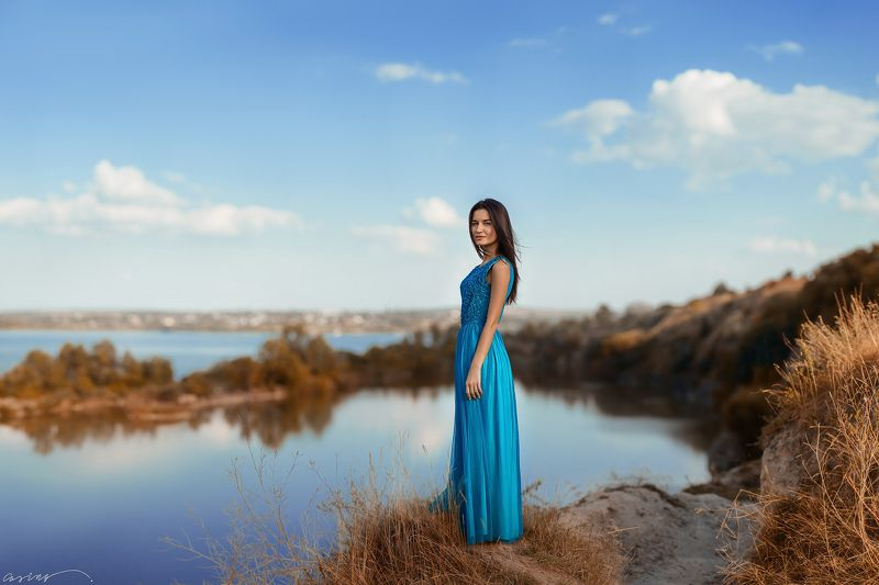 beautiful, girl, portrait, summer, horizon, lake, water, river, mountains, stones, ukraine, canon На краюphoto preview