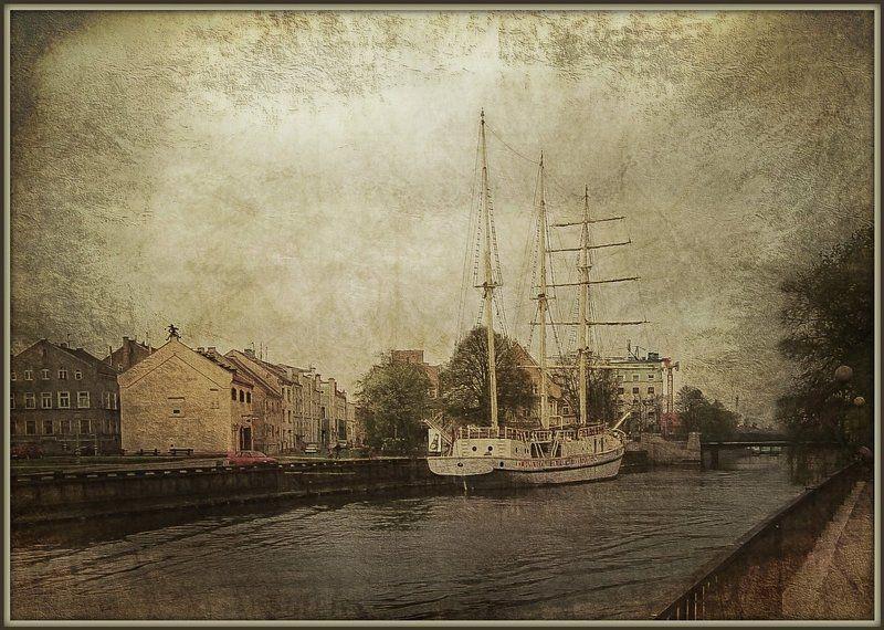 Клайпеда, Парусник, Пейзаж, Под старину, Стилизация, Фото обработка в старинном стилеphoto preview