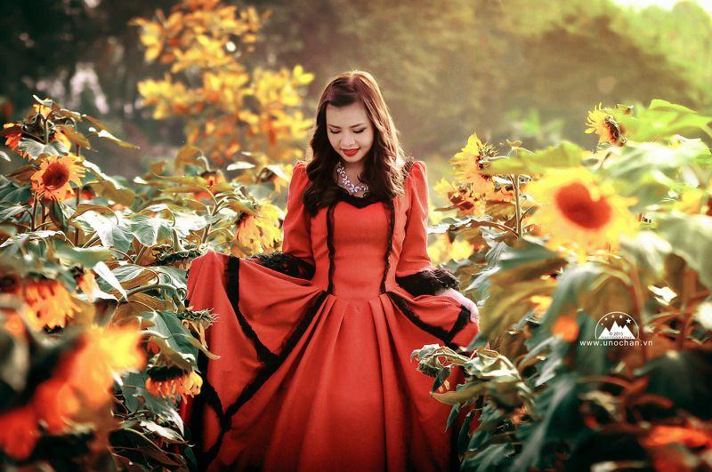 flower, sun set, light, red, girl, pretty, beauty Sun flowerphoto preview