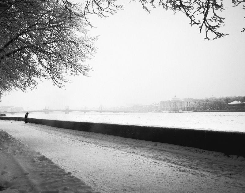 Зима, Санкт-петербург, Ч/б, Человек, Черно-белое фото ***photo preview