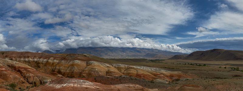 алтай, чуйская котловина, кызылчин, озерные отложения, красноцветные отложения, небо, аридный ландшафт, облака Кызылчинphoto preview