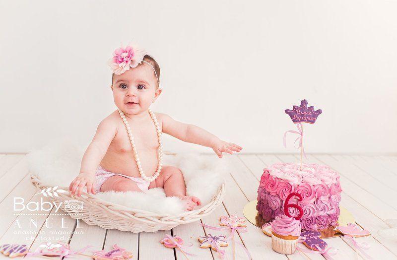 Smash cake,первый тортик,девочка,торт,6мес,бусы,студия Smash cakephoto preview