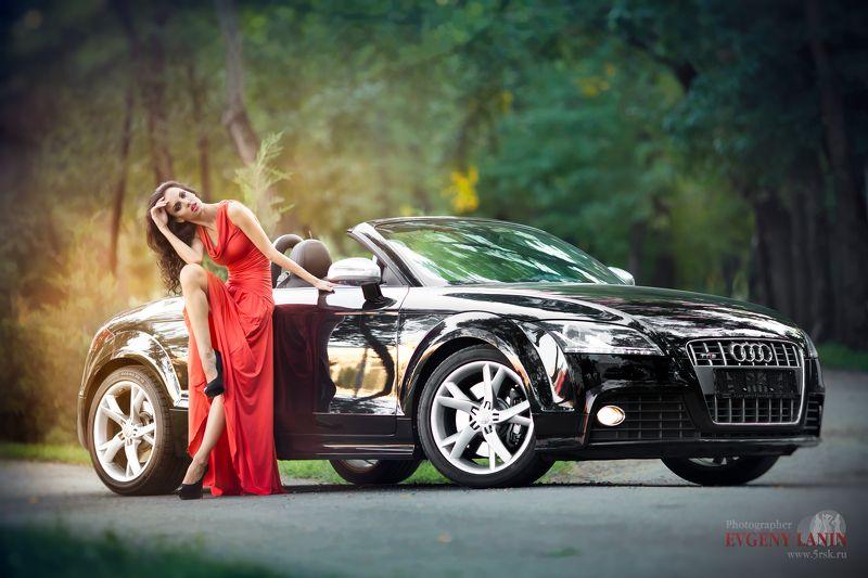 девушка, платье, машина, ожидание,    Красотка на дорогеphoto preview