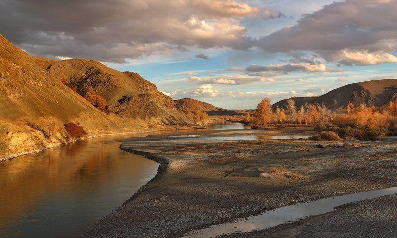 пейзаж, закат, осень, река, горы Золото осениphoto preview