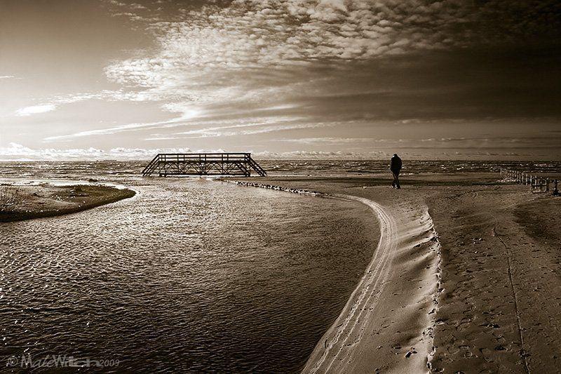 landscape, nature, sepia, bridge, sky, beach, cloud, man, пейзаж, небо, природа, сепия, мост, пляж What dreams may come...photo preview