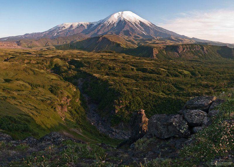 камчатка, вулкан, плоский толбачик, острый толбачик Вид на Толбачики с Долины эдельвейсовphoto preview
