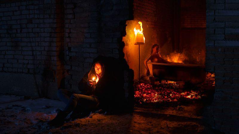 ню, ванна, угли, огонь ***photo preview