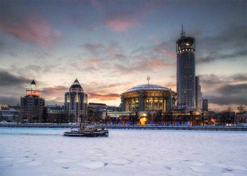 закат, лед, москва, река Будниphoto preview