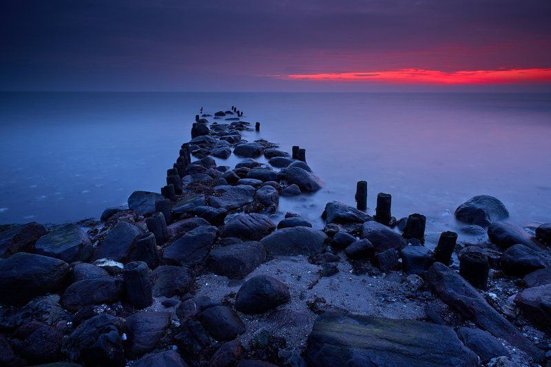 sunrise, ostsee, baltic, sea, beach, red, blue Daybreakphoto preview