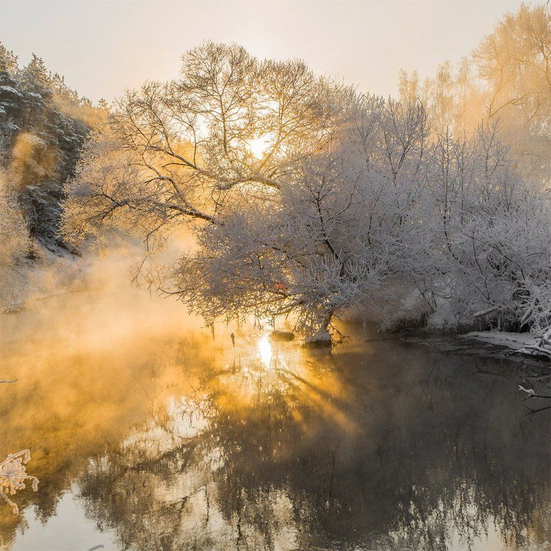 река, зима, мороз, солнце, снег Зимний рассветphoto preview