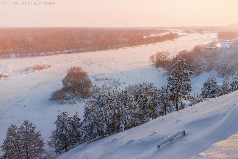 пейзаж, природа, красота, закат, зима, снег, деревья Розовый закатphoto preview