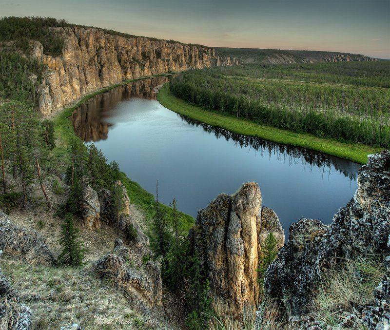 Дикая природа, Закат, Летний вечер, Река Синяя, Синские столбы, Тайга, Якутия р. Синяяphoto preview