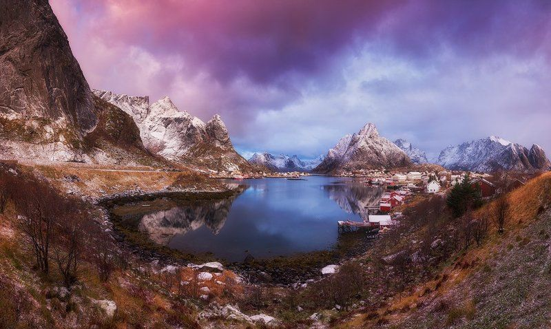 reine, lofoten, polar circle, norway, north Sunrise over Reinephoto preview