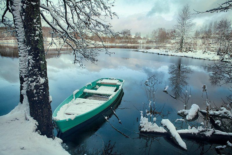 зима, лодка, озеро, пейзаж, снег, Окончание сезонаphoto preview