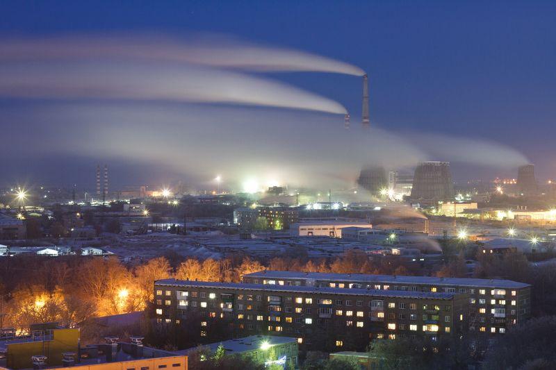омск, урбан, пейзаж, город, завод, трубы, дым Омская ТЭЦ-5photo preview