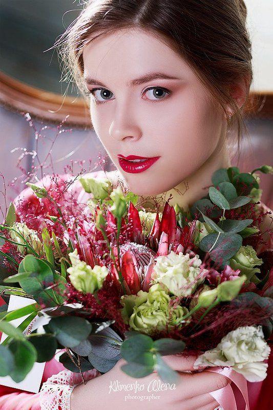 Портрет, глаза, букет, цветы, розовый, нежный, портрет девушки Dariaphoto preview