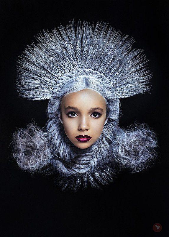 Портрет, девочка, лицо, взгляд, красота, волосы, косы, украшения, колоски, серебро ***photo preview