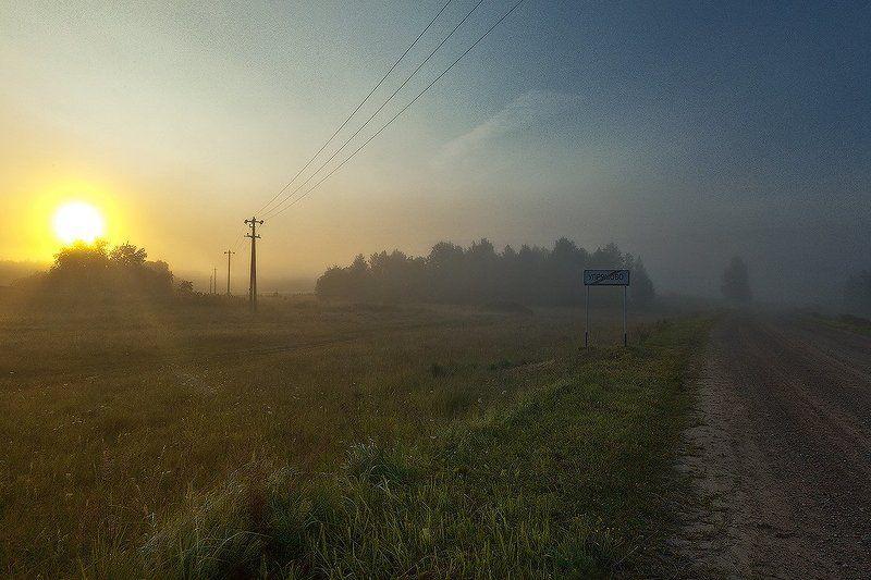 утро, туман, рассвет, столбы, провода, знак, роща, солнце Скоро рассветphoto preview