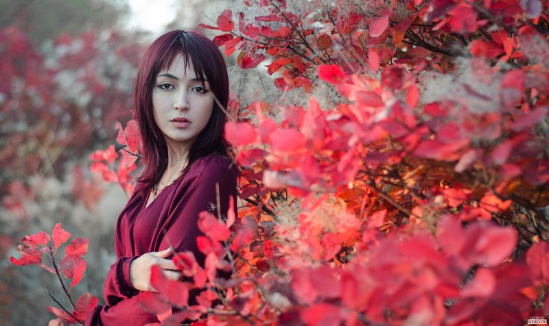 girl, red, portret, hair, leaf, beautiful Евгенияphoto preview