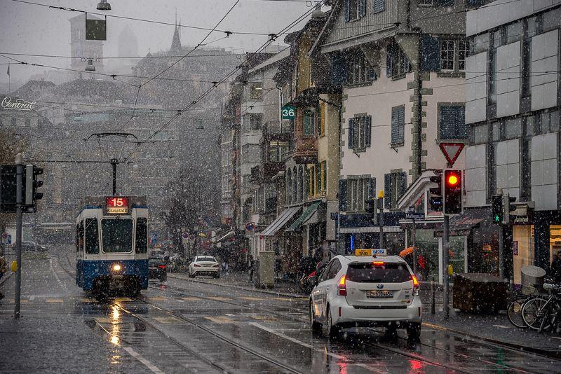 Зима, Снег, Снегопад, Цюрих, Швейцария, Щвецария Большой снегопад в маленьком городеphoto preview
