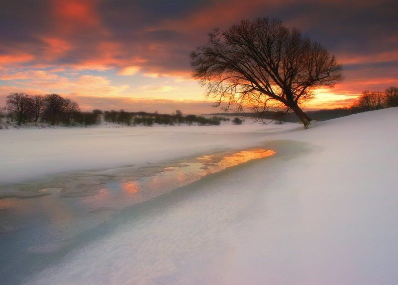 зима, оттепель, вечер, закат, проталина Весна близко!photo preview