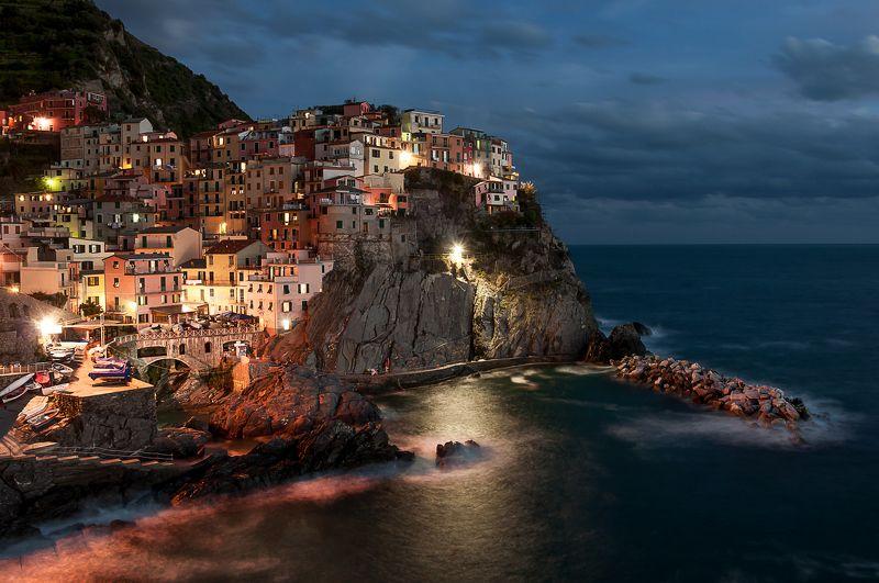 Вечер, Горы, Италия, Манарола, Море скала, Чинве-терре, Чинкве-терре Жизнь на скалеphoto preview