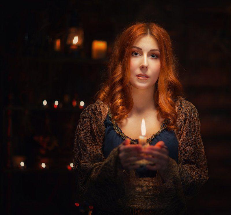 Волшебство, чародейство, девушка, свечи,  photo preview