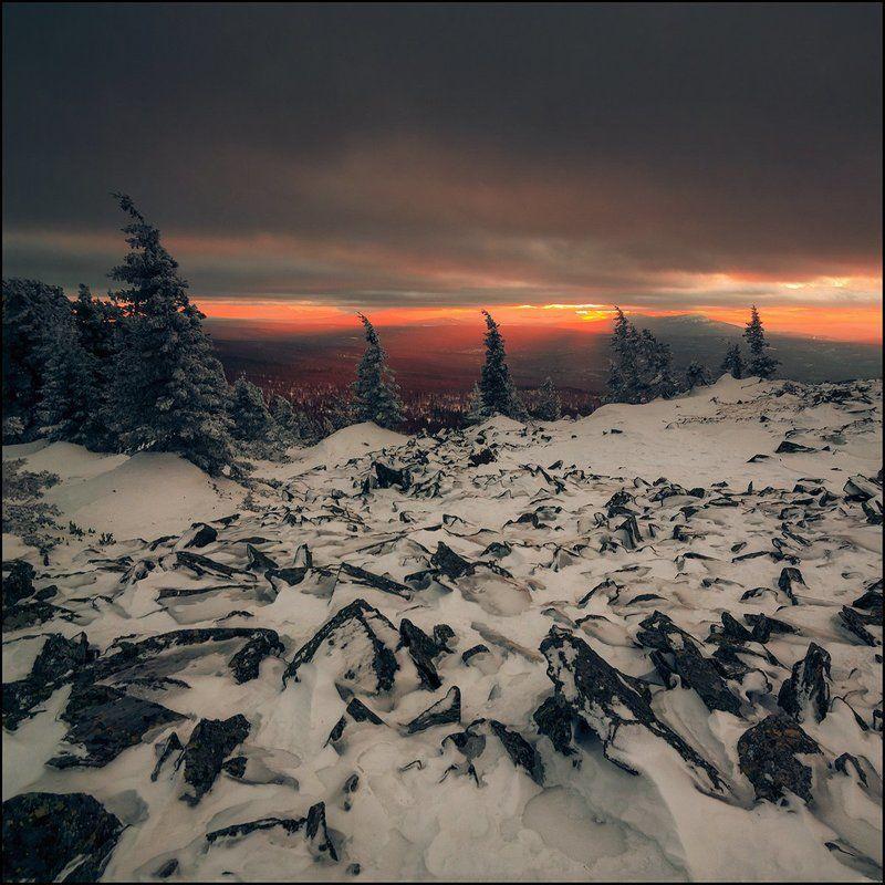Закат, Зима, Урал Один зимний закатphoto preview