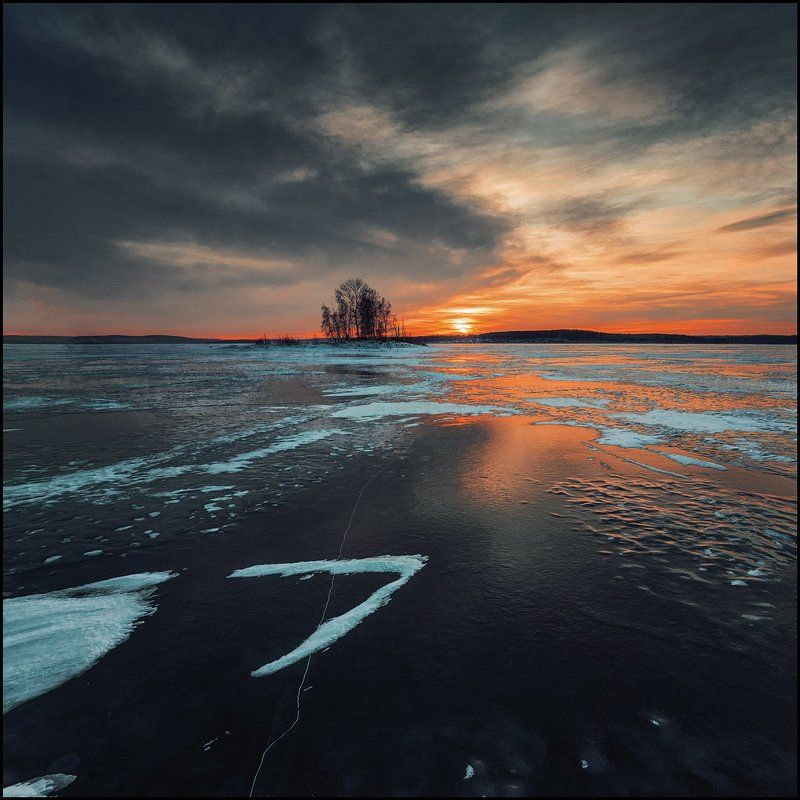 закат, зима, лед, озеро Семьphoto preview