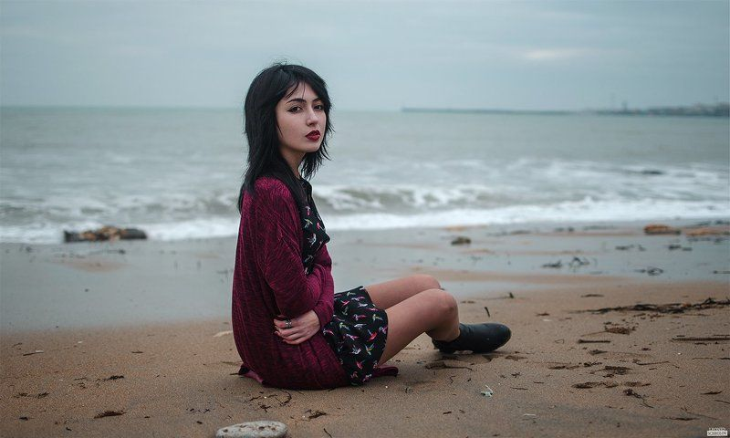 girl, red, portret, hair, beautiful, sea Евгенияphoto preview