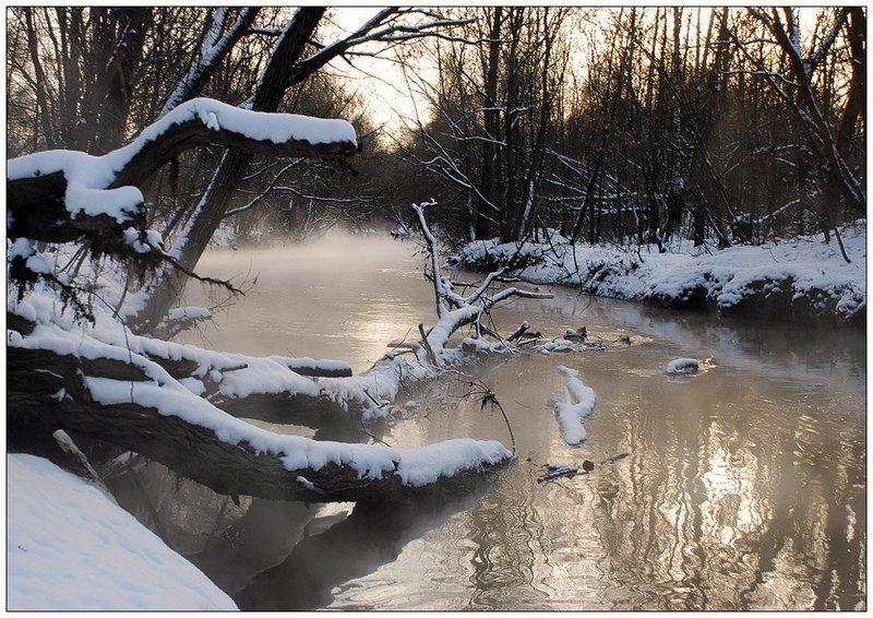 пейзаж, туман, река, зима, мороз Про туман в минус 20photo preview