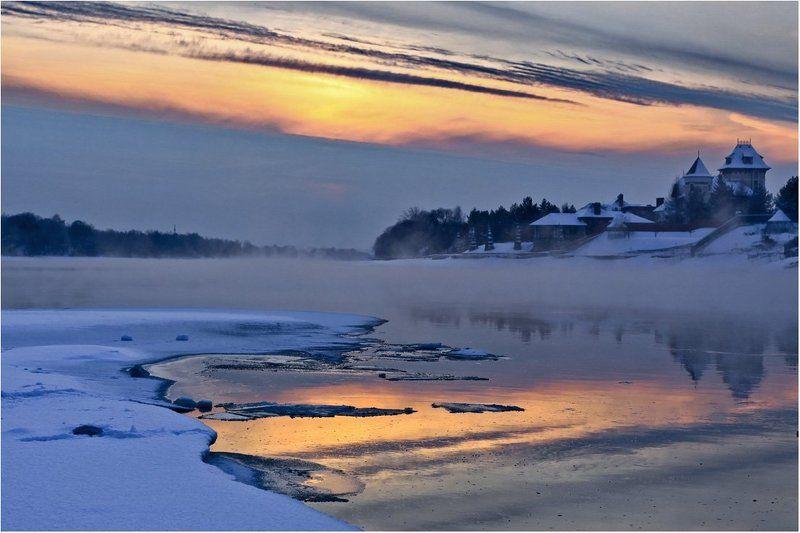 закат,туман,река ***photo preview