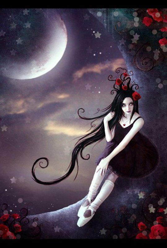 луна, розы, звезды, готика ...moon flowersphoto preview