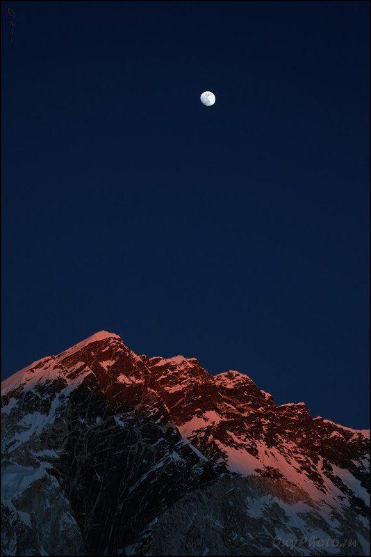 непал, гималаи, трек к бл эвереста, nepal, himalaya, trek to bc everest, нупцзе, nuptse, луна, moon Почти полная луна над закатной Нупцзе.photo preview