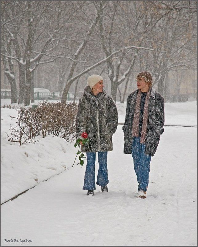 снегопад, пара, свидание Состоится в любую погодуphoto preview