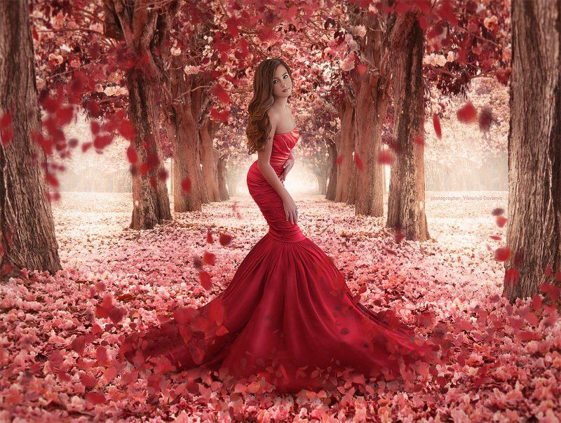art, art, fairytale, girl, fashion, b, dress, flower, girl, photography, portrait, pretty, red Алина и её Нарнияphoto preview
