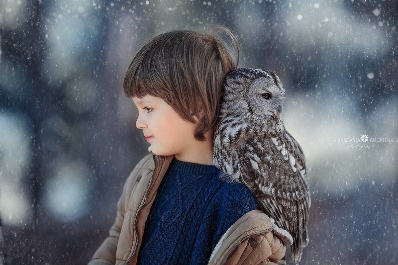 Мальчик, сова, осень, вместе Совёнокphoto preview