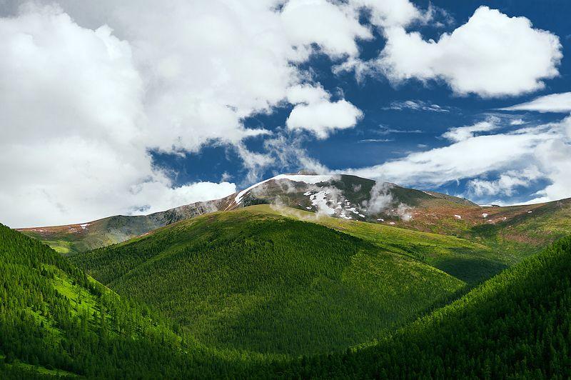горы, голубое небо, снег, тени, горизонтальная, небо, облака, красота, природа, зелень, горный  ******photo preview
